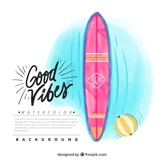 Fondo de tabla de surf de acuarela