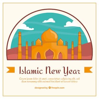 Fondo de taj mahal de año nuevo islámico