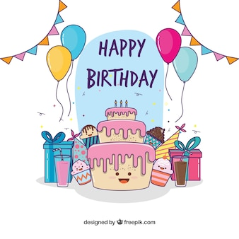 Fondo de tarta adorable de cumpleaños y regalos dibujados a mano