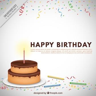 Fondo de tarta de cumpleaños con confeti