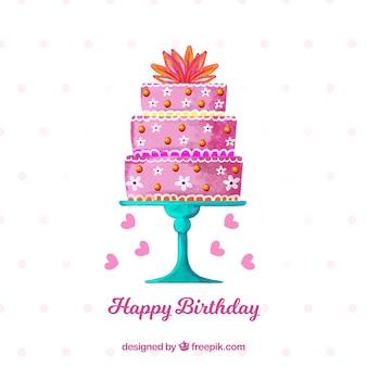 Fondo de tarta de cumpleaños de acuarela