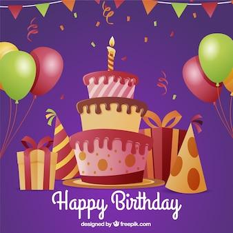 Fondo de tarta y regalos de cumpleaños