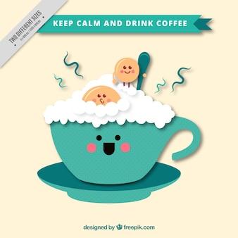 Fondo de taza de café con espuma y galletas