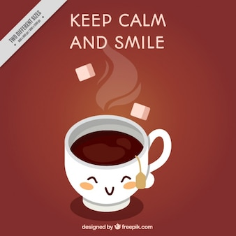 Fondo de taza de té con frase positiva