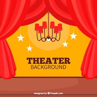 Fondo de teatro con lámpara y estrellas