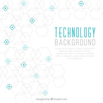 Fondo de tecnología con hexágonos y cuadrados azules