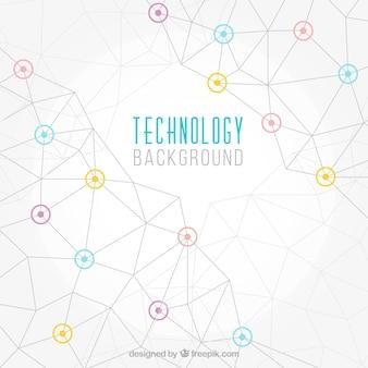 Fondo de tecnología con líneas geométricas y detalles de colores