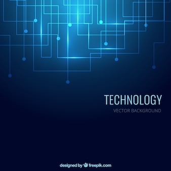 Fondo de tecnología en color azul