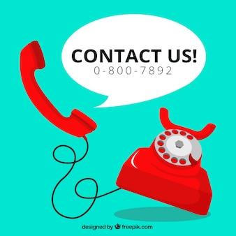 Fondo de teléfono rojo con texto  contáctanos