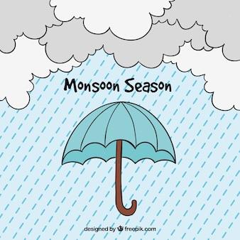 Fondo de temporada de lluvias con paraguas