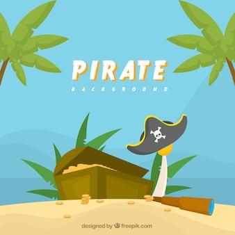 Fondo de tesoro en la isla pirata
