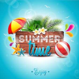 Fondo de tiempo de verano con diseño de palmeras
