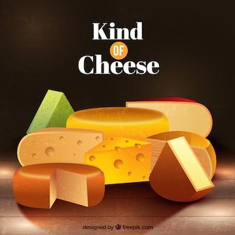 Fondo de tipos de queso en estilo realista