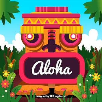 Fondo de tótem con la palabra aloha