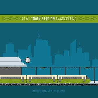 Fondo de tren en la estación en diseño plano