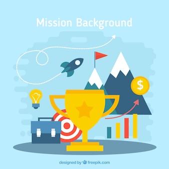 Fondo de trofeo con elementos de negocios en diseño plano