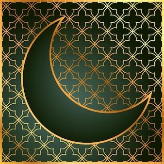 Fondo de una luna verde y dorada