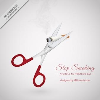 Fondo de unas tijeras cortando un cigarro