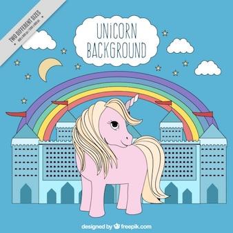 Fondo de unicornio dibujado a mano con castillo