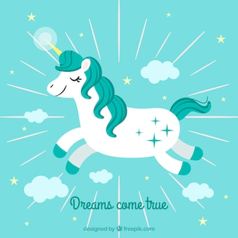 Fondo de unicornio volando en el cielo