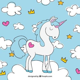 Fondo de unicornio y nubes dibujadas a mano