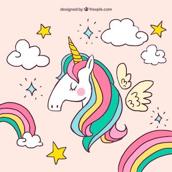 Fondo de unicornio y otros elementos dibujados a mano