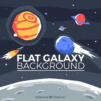Fondo de universo con planetas y luna