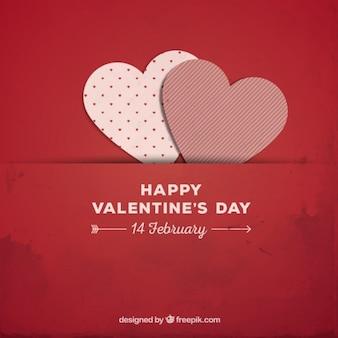 Fondo de Valentín rojo con corazones de papel