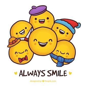 Fondo de varias caras sonrientes