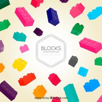 Fondo de varias piezas de construcción de colores