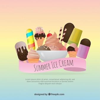 Fondo de variedad de postres y deliciosos helados
