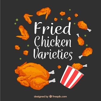 Fondo de variedades de pollo frito