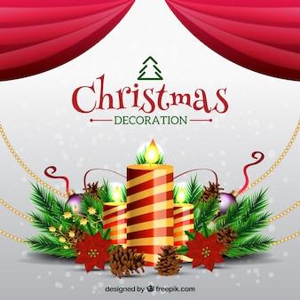 Fondo de velas decorativas de navidad