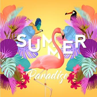 Fondo de verano con flamenco y hojas de palmera