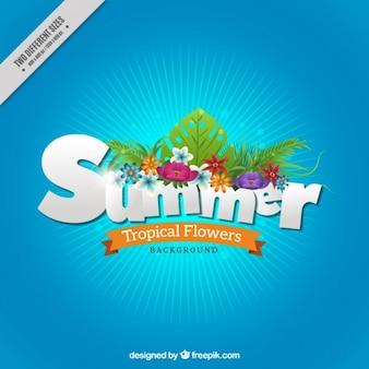 Fondo de verano con flores tropicales