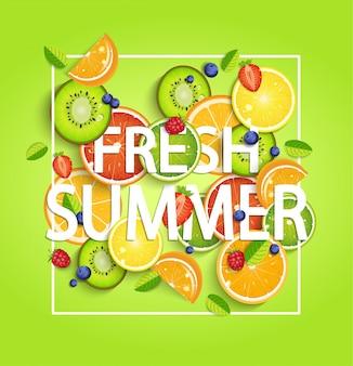 Fondo de verano con frutas.