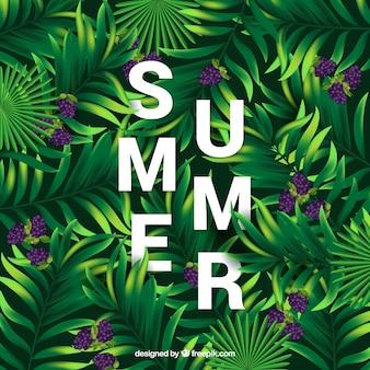 Fondo de verano con hojas de palmeras y flores moradas