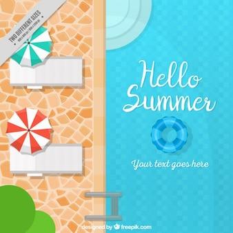 Fondo de verano con piscina y tumbonas