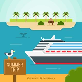 Fondo de verano con un crucero en diseño plano