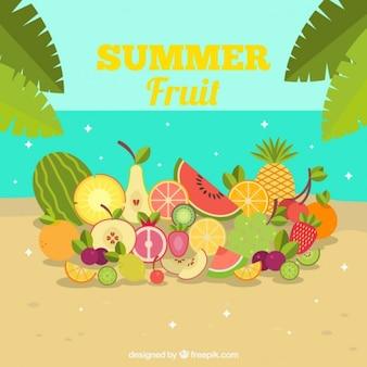 Fondo de verano de frutas en la playa