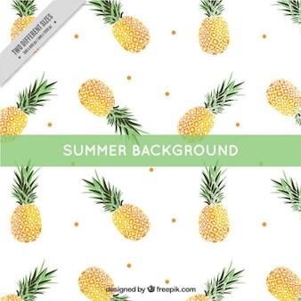 Fondo de verano de piñas con puntos