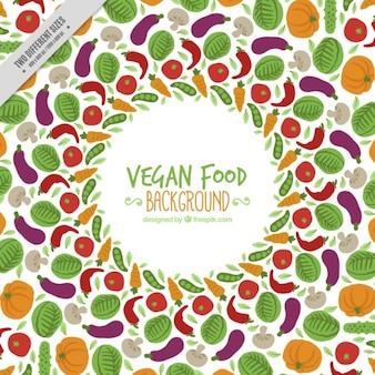 Fondo de verduras de colores dibujadas a mano