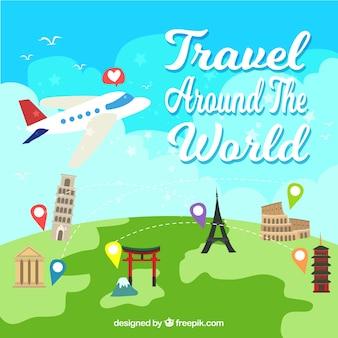 Fondo de viajar alrededor del mundo