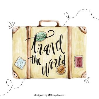 Fondo de viaje con maleta de acuarela