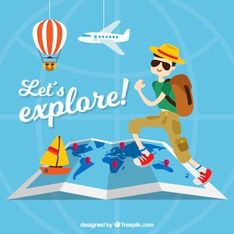 Fondo de viaje con turista y artículos decorativos