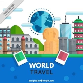 Fondo de viaje por el mundo en diseño plano