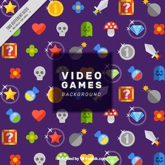Fondo de videojuego con elementos coloridos