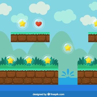 Fondo de videojuego con estrellas y vegetación