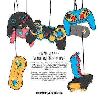 Fondo de videojuegos dibujado a mano