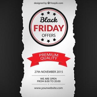 Fondo de viernes negro en estilo de papel rasgado